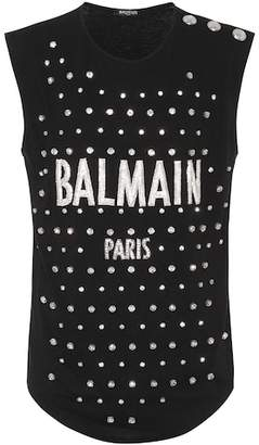 Balmain Crystal-embellished tank top