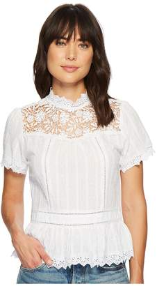 Miss Me Lace Floral Button Back Top Women's Clothing