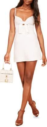 Reformation Sullivan Tie Front Linen Minidress