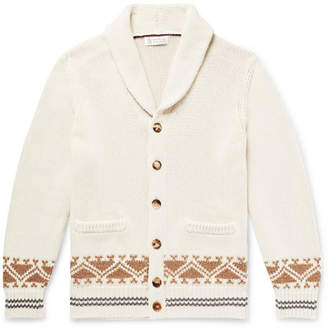 Brunello Cucinelli Shawl-Collar Cotton-Jacquard Cardigan - Men - Off-white