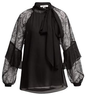 Diane von Furstenberg Mariela Silk And Lace Pussy Bow Blouse - Womens - Black