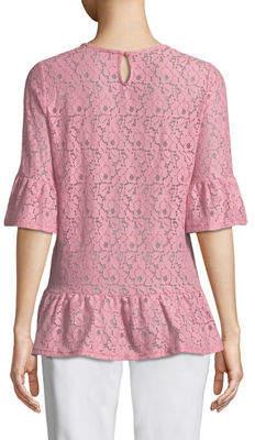 Neiman Marcus Flare-Sleeve Lace Blouse