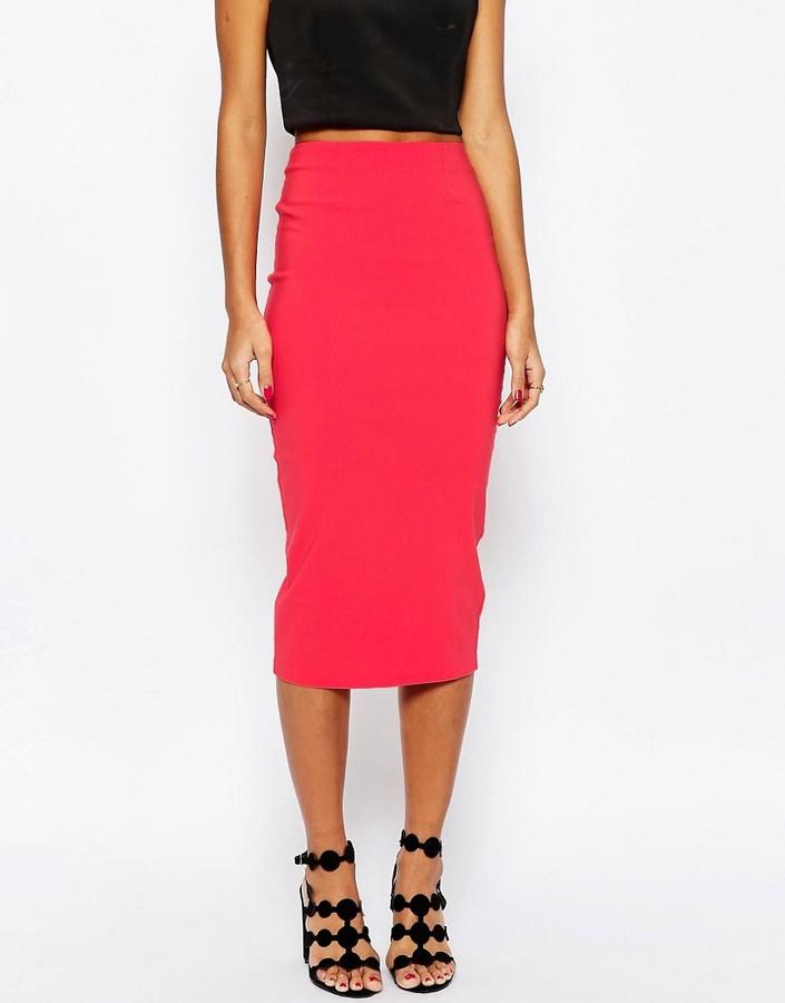 asos high waist longerline pencil skirt shopstyle co uk