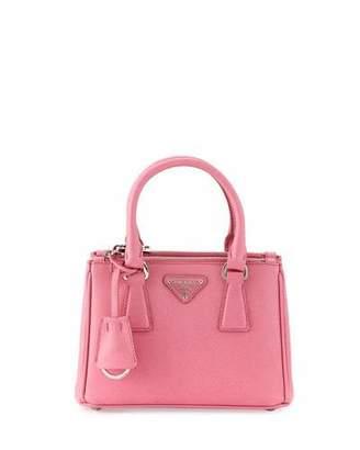 Prada Saffiano Lux Micro Tote Bag w/Shoulder Strap, Pink (Begonia) $1,290 thestylecure.com