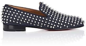 Christian Louboutin Men's Rollerboy Spikes Flat Denim Venetian Loafers