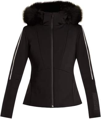 Contrast-stripe fur-trimmed ski jacket