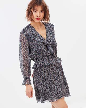 Maison Scotch Ruffle Details and Elasticated Waist LS Dress
