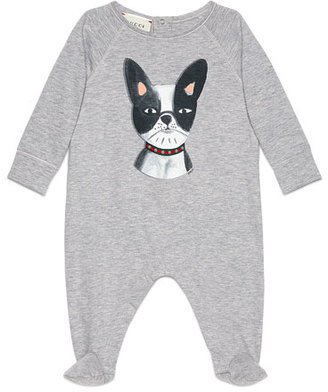 Gucci Long-Sleeve Bulldog Footie Pajamas, Gray/Black, Size 3-12 Months $195 thestylecure.com