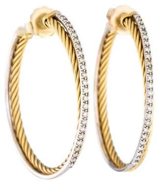 David Yurman 18K Diamond Extra-Large Crossover Hoop Earrings
