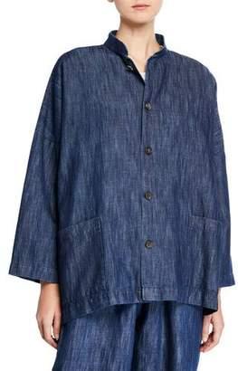 eskandar Cotton-Linen Button-Front Mandarin Jacket