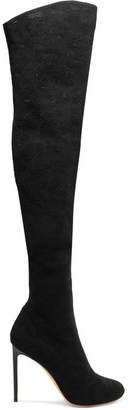 Francesco Russo Stretch-mesh Over-the-knee Boots - Black