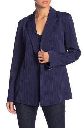 Grey Lab Pinstripe Long Sleeve Blazer