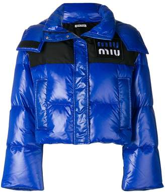Miu Miu cropped hooded puffer jacket