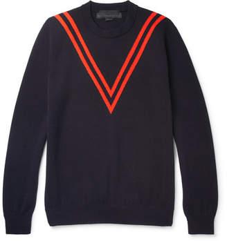 Stella McCartney Chevron Virgin Wool Sweater - Men - Midnight blue