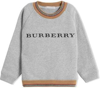 Burberry Heritage Stripe Detail Embroidered Cotton Sweatshirt