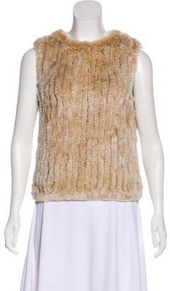 Rene Lezard Sleeveless Fur Top