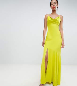 Asos Tall DESIGN Tall bias cut satin slip maxi dress with drape neck