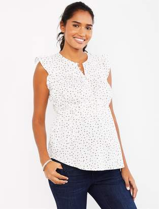 Motherhood Maternity Flutter Cap Sleeve Linen Maternity Top