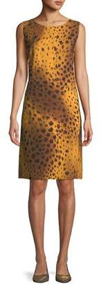 Lafayette 148 New York Bibiana Sleeveless Reversible Stripe & Leopard-Print A-Line Dress