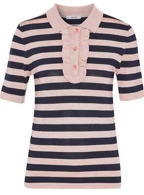 Ganni Ruffle-Trimmed Metallic Striped Stretch-Knit Polo Shirt