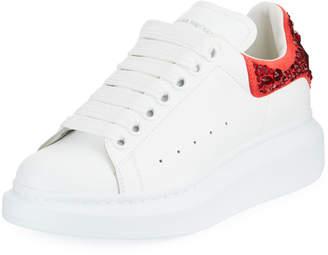 Alexander McQueen Pelle Embellished Two-Tone Low-Top Sneakers