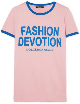 Dolce & Gabbana Printed Cotton-jersey T-shirt - Pink