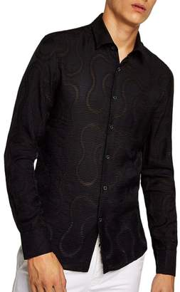 Topman Slim Fit Sheer Swirl Shirt