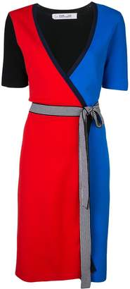 Diane von Furstenberg colour-block wrap dress