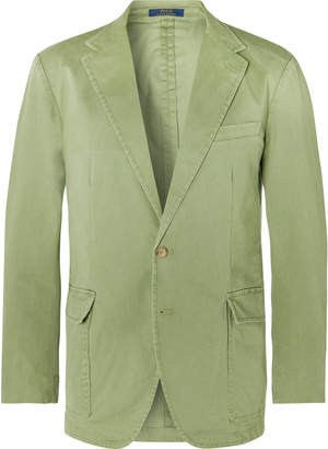 Polo Ralph Lauren Green Slim-Fit Unstructured Brushed Cotton-Blend Twill Blazer