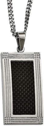 FINE JEWELRY Mens Stainless Steel & Black Carbon Fiber Pendant