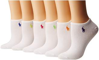 Lauren Ralph Lauren 6-Pack Flat Knit Ultra Low Cut Socks Women's Crew Cut Socks Shoes