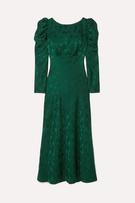 Saloni Alena Ruched Silk-jacquard Midi Dress - Forest green