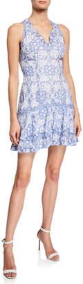 Jonathan Simkhai V-Neck Scallop Tiered Embroidered Mini Dress