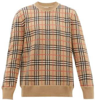 Burberry Fletcher Check Jacquard Merino Wool Sweater - Mens - Camel
