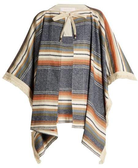 Striped cotton-blend cape