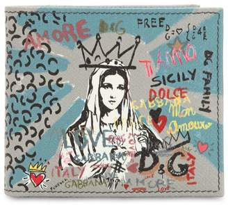 Dolce & Gabbana Murales Dauphine Leather Classic Wallet