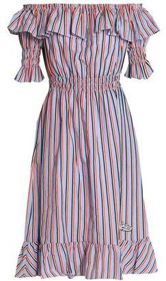 Love Moschino Off-The-Shoulder Ruffled Striped Cotton Dress
