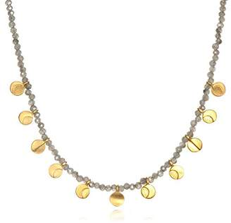 """Satya Jewelry Mystic Labradorite Gold Plate Moon Phase (15-Inch +2"""" Ext) Choker Necklace"""