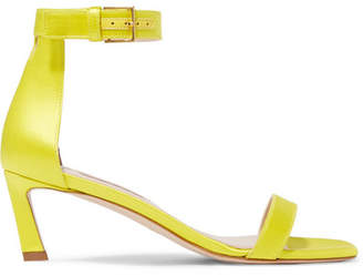 Stuart Weitzman Squarenudist Satin Sandals - Yellow