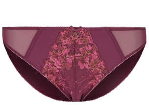Entice George Burgundy Floral Lace High Leg Knickers