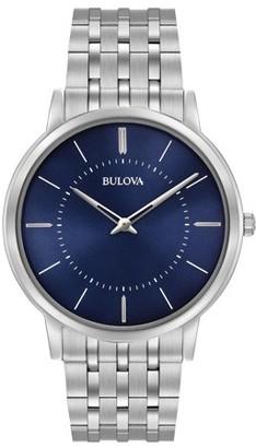 Bulova 96A188 Men's Classic Blue Dial Stainless Steel Bracelet Ultra-Slim Watch
