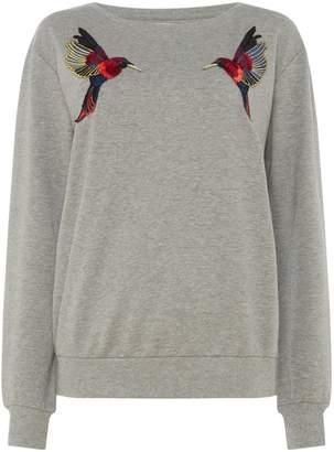 Sofie Schnoor Grey sweatshirt with bird embroidery