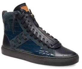 Bally Hekem Croc-Embossed High-Top Sneakers