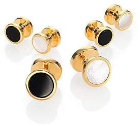 David Donahue Men's Gold-plated Silver, Onyx & Mother of Pearl Reversible Stud Set