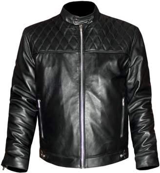 David Beckham luvsecretlingerie Genuine Leather Men's Quilted Top Fashion Biker Bomber Jacket Coat