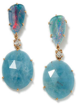 Jan Leslie 18K Rose Gold Bespoke Tribal Luxury 2-Tier Earring with Opal Triplet, Aquamarine, and Diamond
