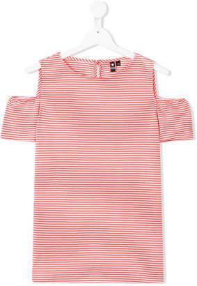 European Culture Kids TEEN cold-shoulder striped dress