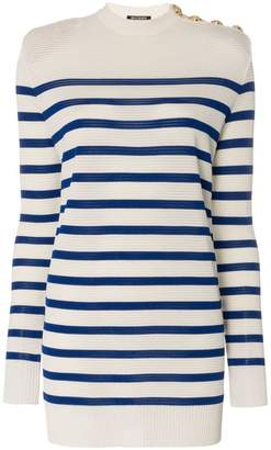 Balmain striped buttoned jumper