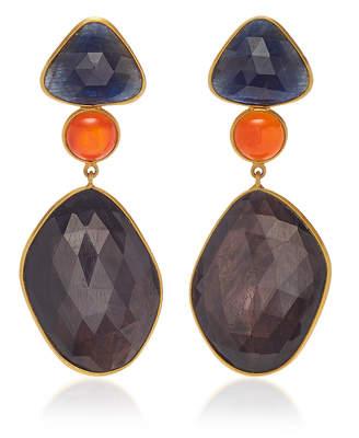 Bahina 18K Gold Sapphire and Carnelian Earrings