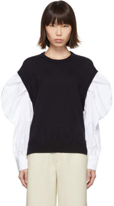 Enfold Navy and White Shirt Sleeve Sweater